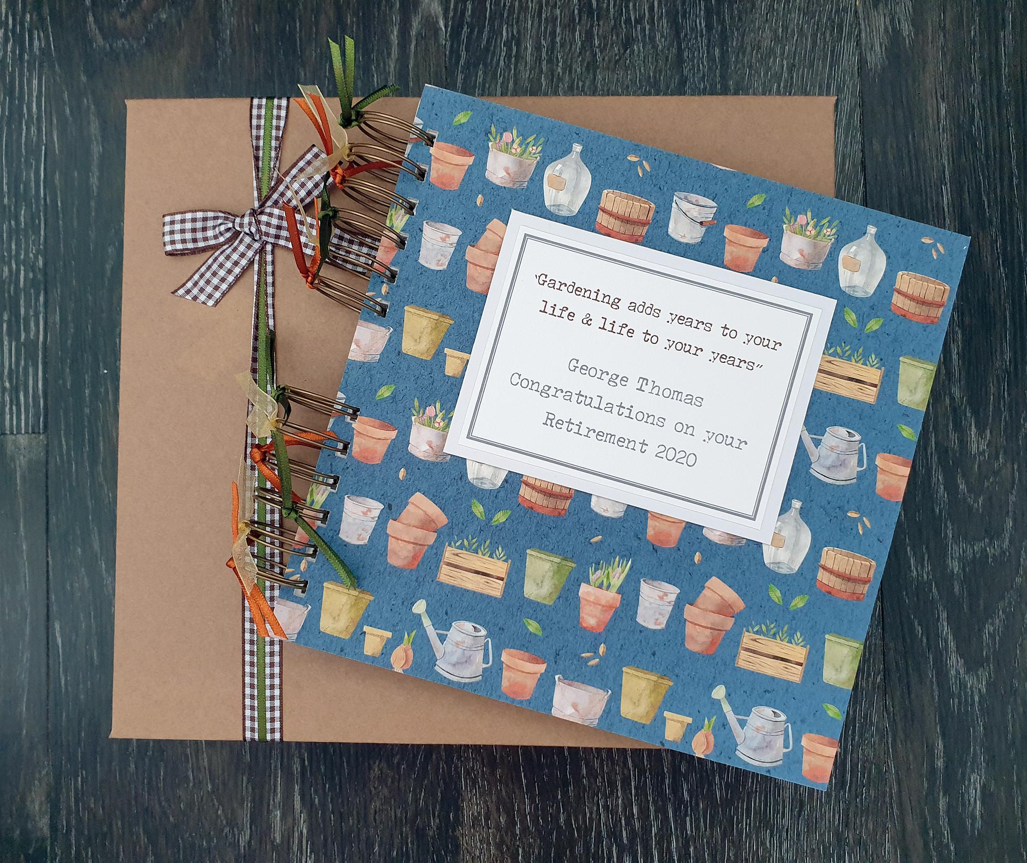Retirement memory book, blue gardening design, 8″ x 8 ...